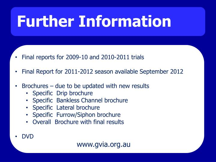 Final reports for 2009-10 and 2010-2011 trials