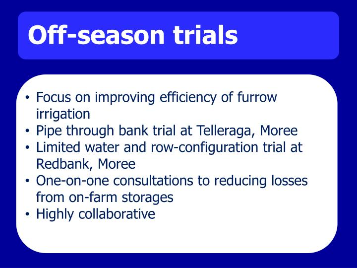 Focus on improving efficiency of furrow irrigation