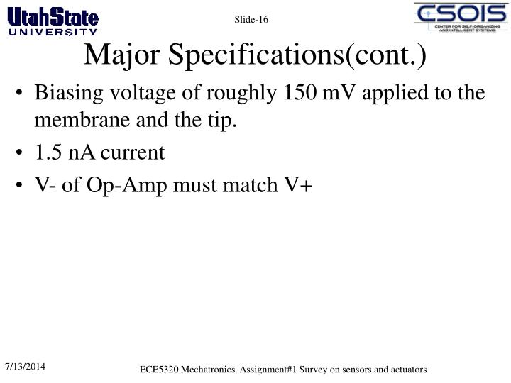 Major Specifications(cont.)