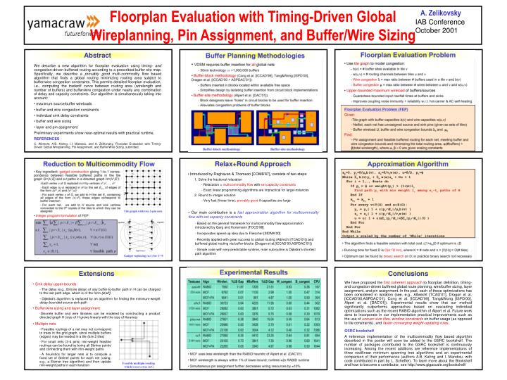 Floorplan evaluation with timing driven global wireplanning pin assignment and buffer wire sizing