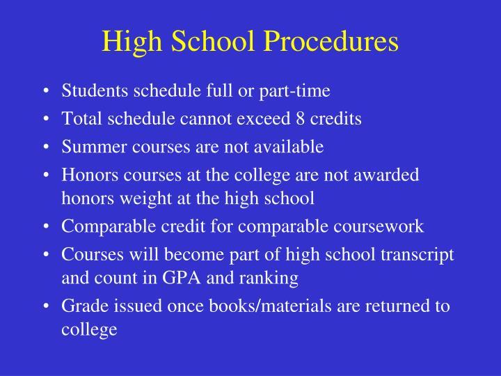 High School Procedures