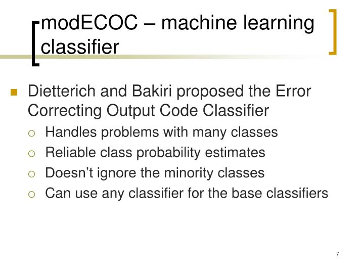 modECOC – machine learning classifier
