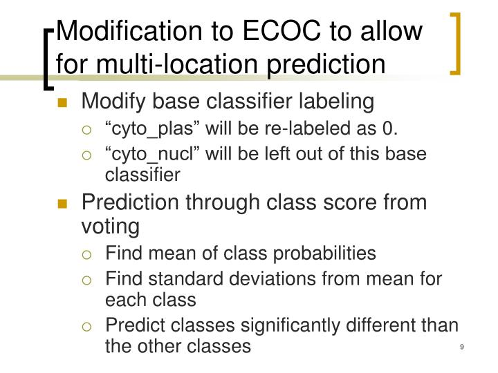 Modification to ECOC to allow for multi-location prediction