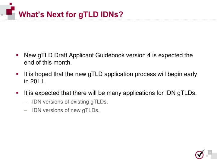 What's Next for gTLD IDNs?
