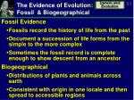 the evidence of evolution fossil biogeographical