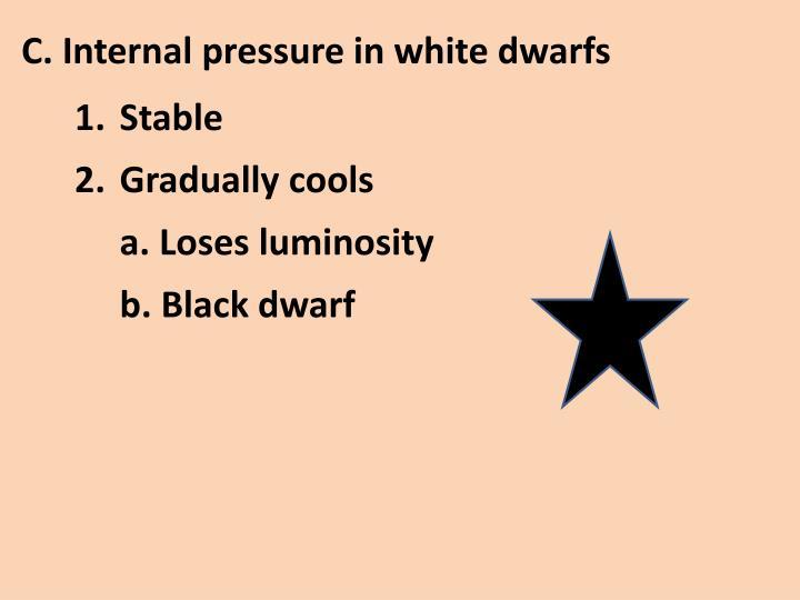 C. Internal pressure in white dwarfs
