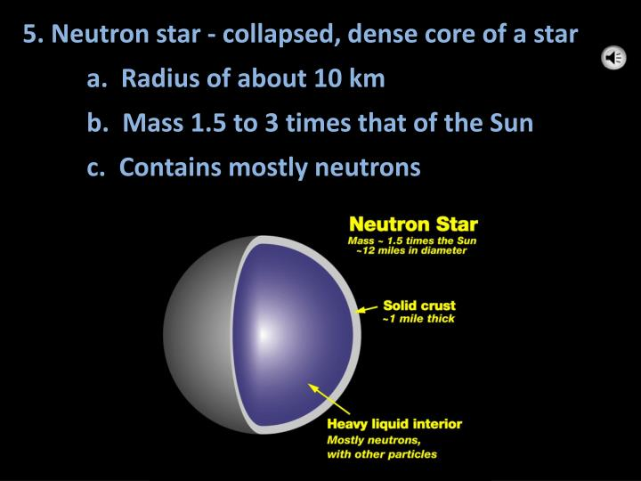 5. Neutron star - collapsed, dense core of a star