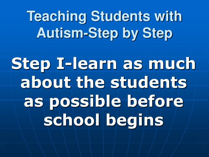 teaching students with autism step by step n.