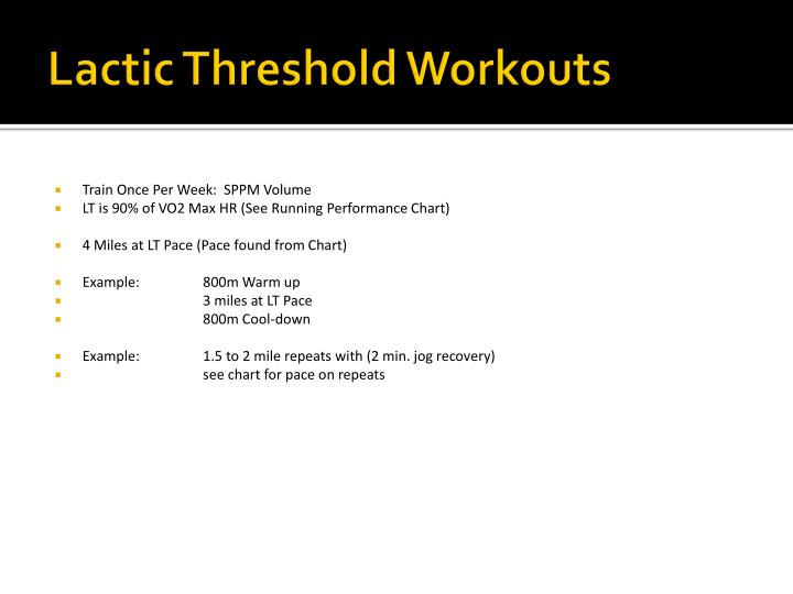 Lactic Threshold Workouts