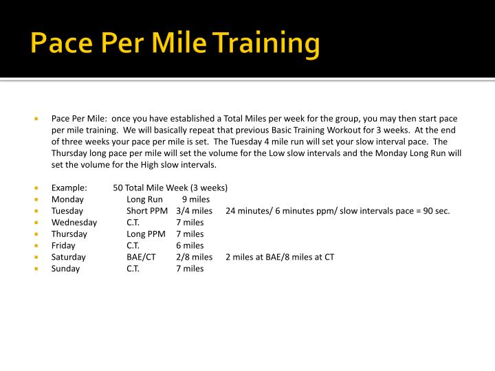 Pace Per Mile Training