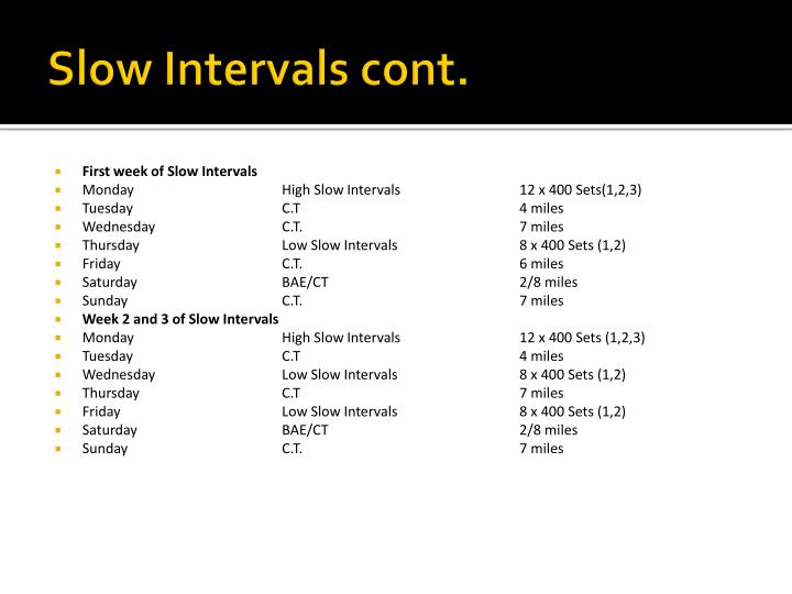 Slow Intervals cont.