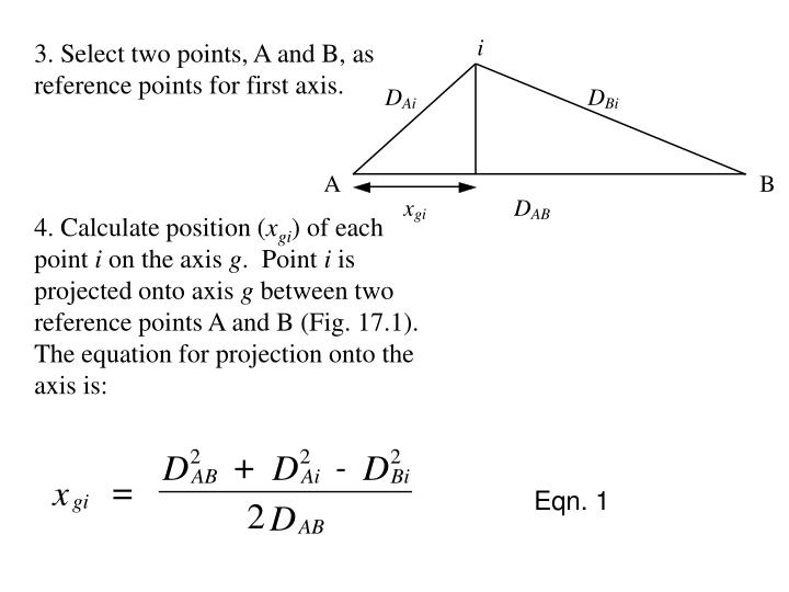 3. Select two points, A and B, as reference points for first axis.