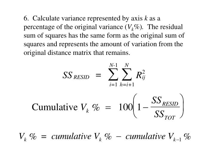6.  Calculate variance represented by axis