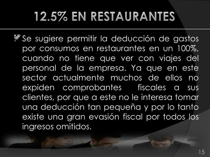 12.5% EN RESTAURANTES