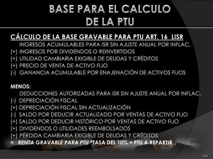 BASE PARA EL CALCULO
