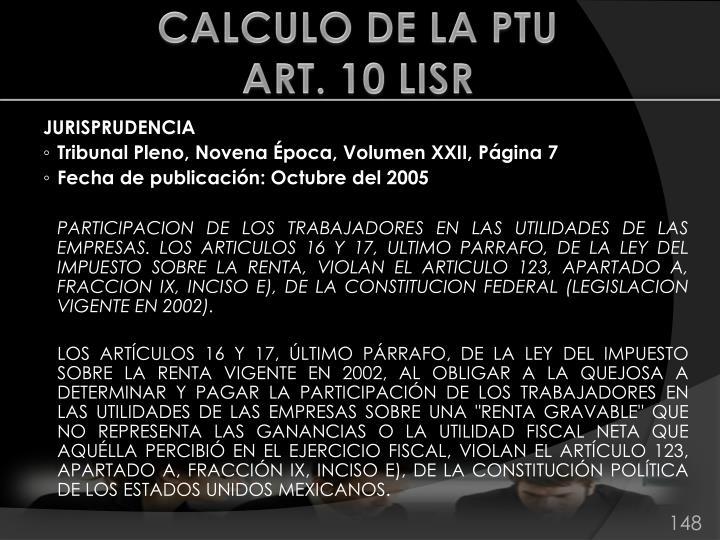 CALCULO DE LA PTU