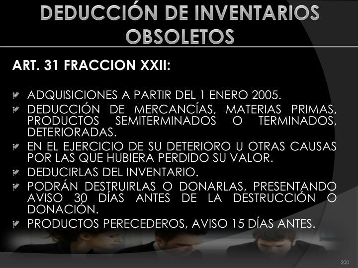 DEDUCCIÓN DE INVENTARIOS OBSOLETOS