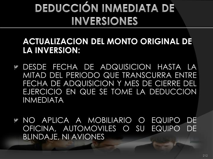 DEDUCCIÓN INMEDIATA DE INVERSIONES