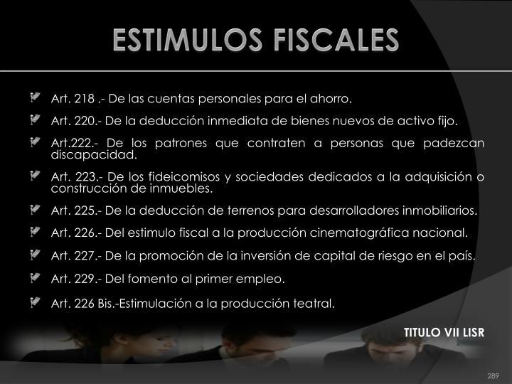 ESTIMULOS FISCALES