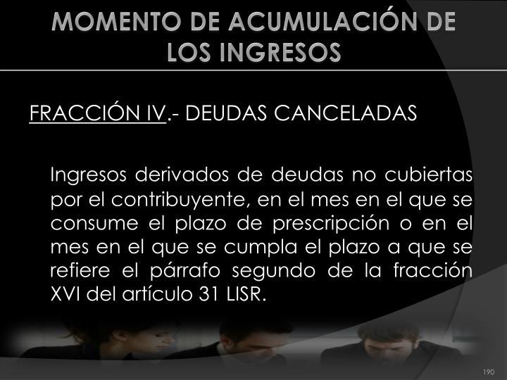 MOMENTO DE ACUMULACIÓN DE LOS INGRESOS