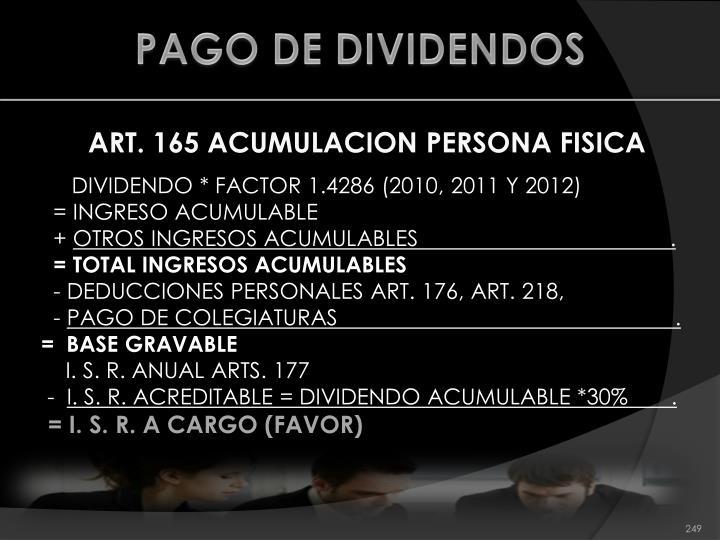 PAGO DE DIVIDENDOS