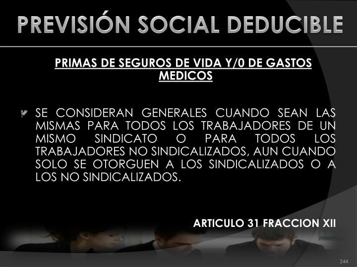 PREVISIÓN SOCIAL DEDUCIBLE