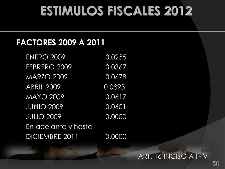 ESTIMULOS FISCALES 2012