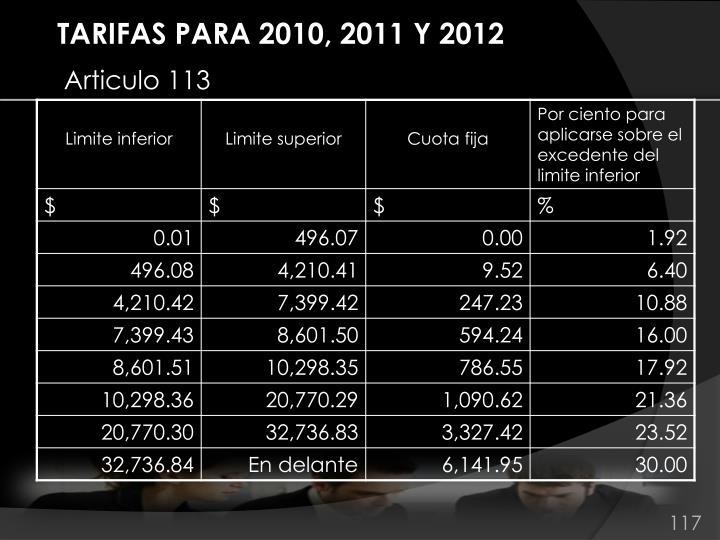 TARIFAS PARA 2010, 2011 Y 2012