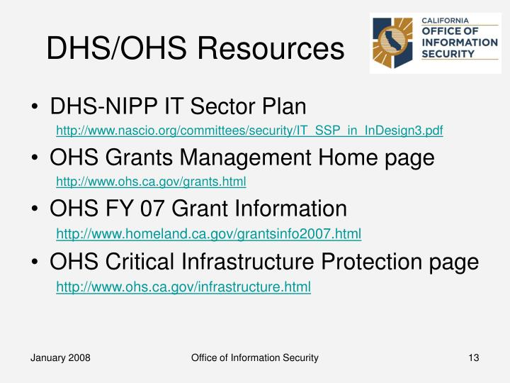 DHS/OHS Resources
