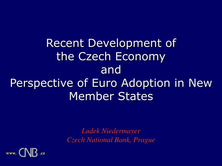 recent development of the czech economy and perspective of euro adoption in new member states n.