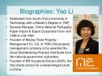 biographies yao li