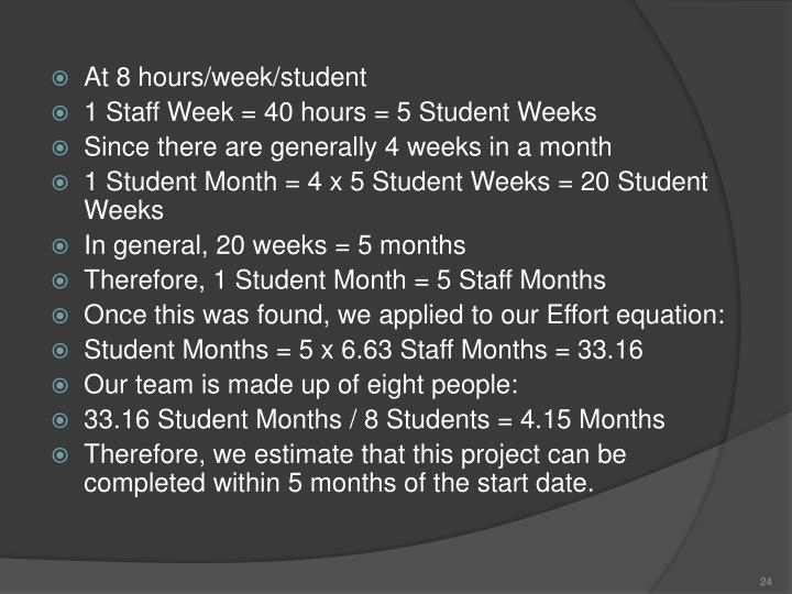 At 8 hours/week/student