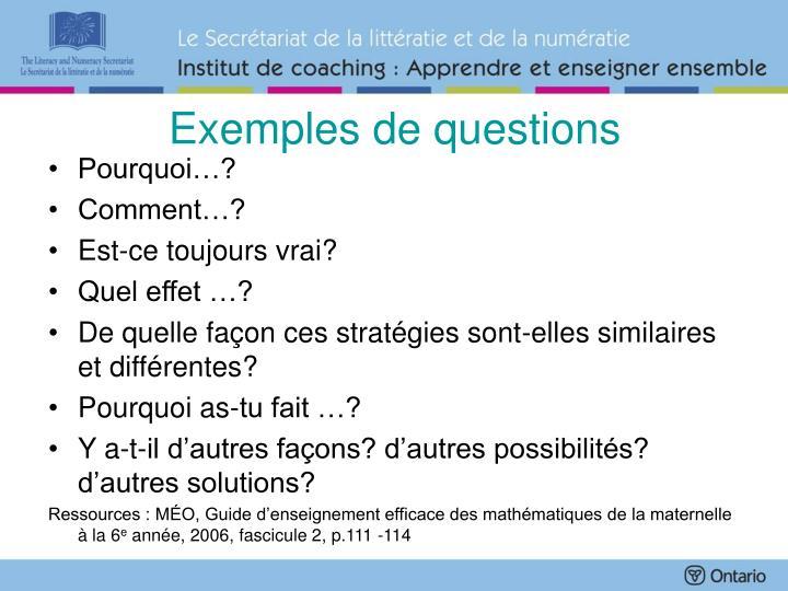 Exemples de questions