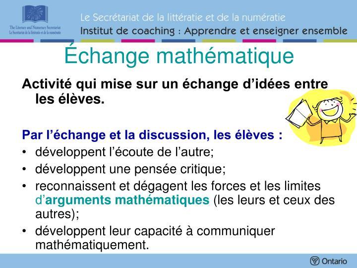 Échange mathématique