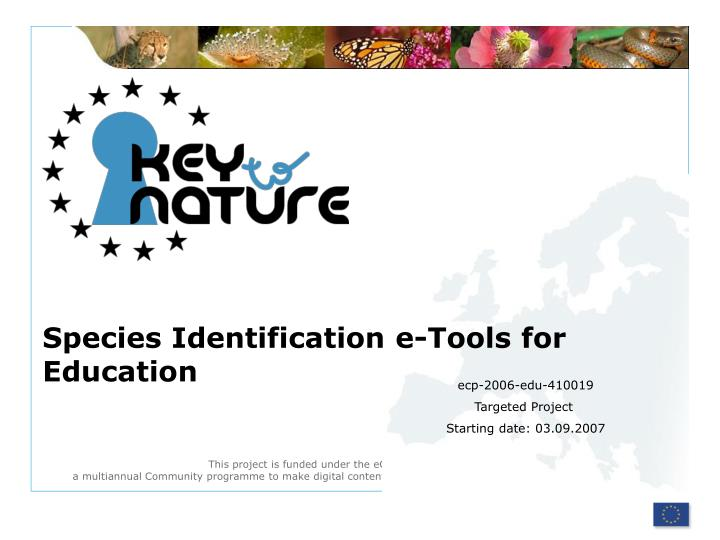 species identification e tools for education n.