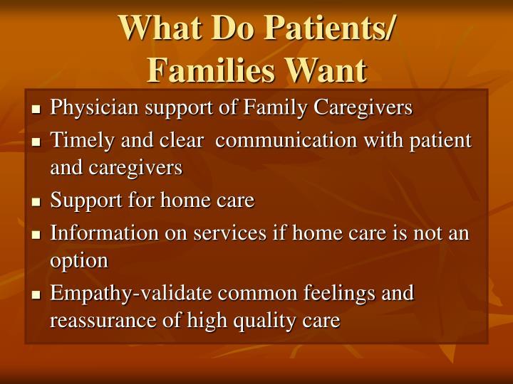 What Do Patients/
