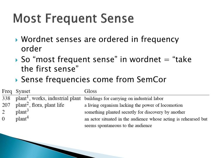Most Frequent Sense