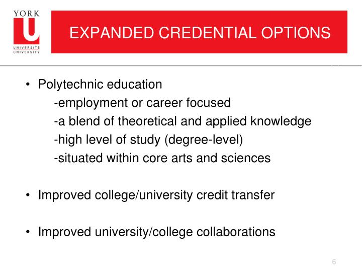 EXPANDED CREDENTIAL OPTIONS