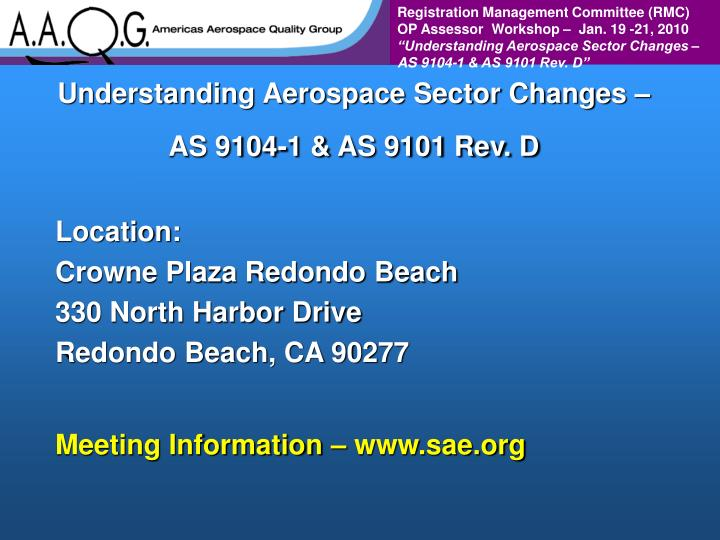 Understanding Aerospace Sector Changes – AS 9104-1 & AS 9101 Rev. D