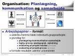 organisation planl gning kommunikation og samarbejde
