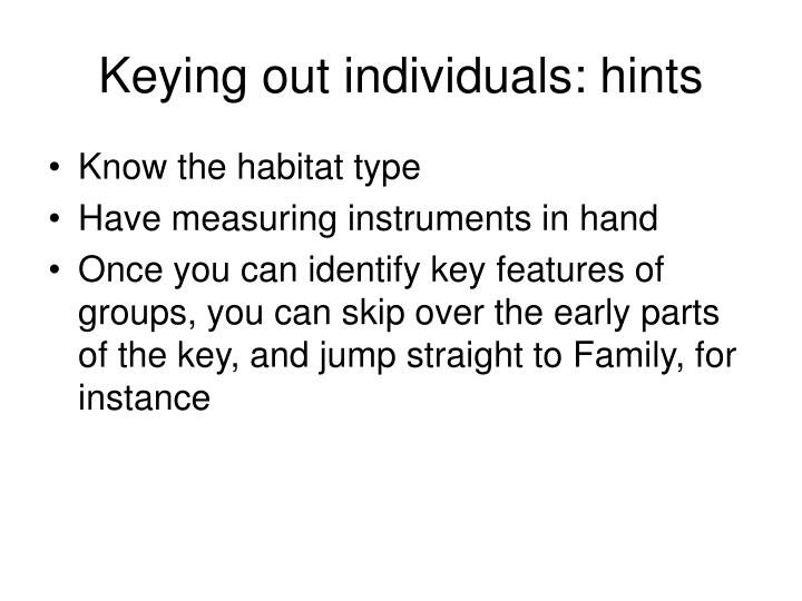 Keying out individuals hints1