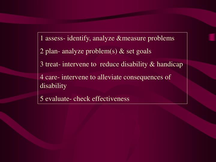 1 assess- identify, analyze &measure problems