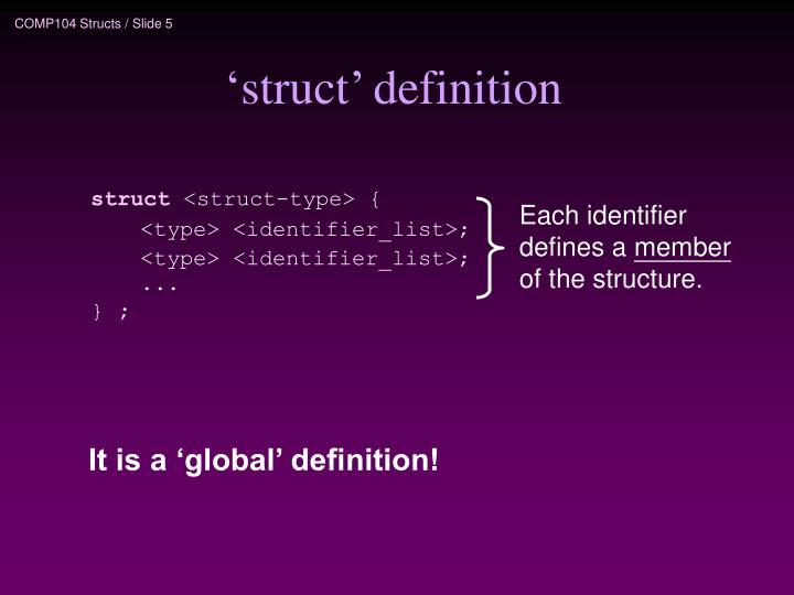 'struct' definition