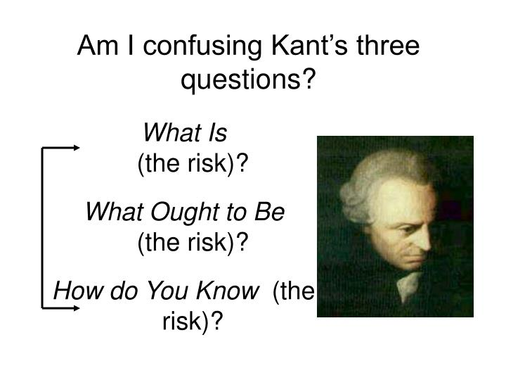 Am I confusing Kant's three questions?