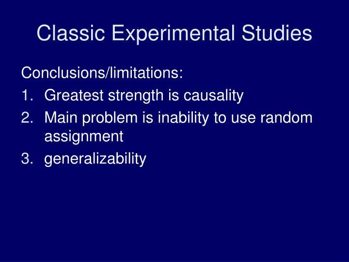 Classic Experimental Studies