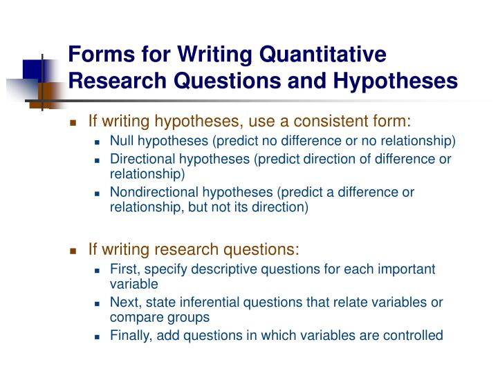 how to write a non directional hypothesis