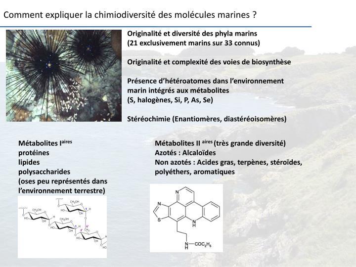 Comment expliquer la chimiodiversité des molécules marines ?