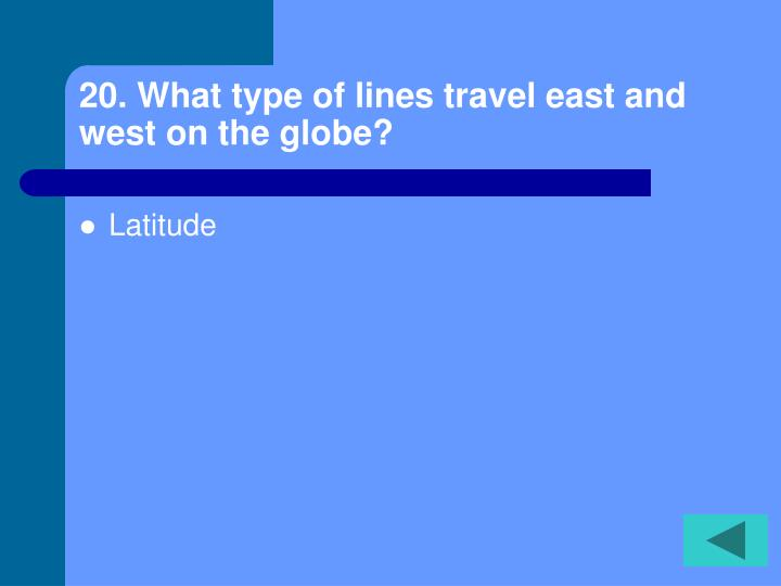 20. What type of lines travel east and west on the globe?