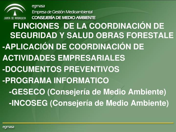 FUNCIONES  DE LA COORDINACIÓN DE SEGURIDAD Y SALUD OBRAS FORESTALE