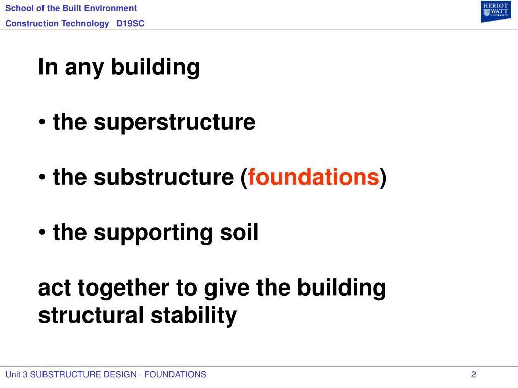 PPT - Unit 3 SUBSTRUCTURE DESIGN - FOUNDATIONS PowerPoint